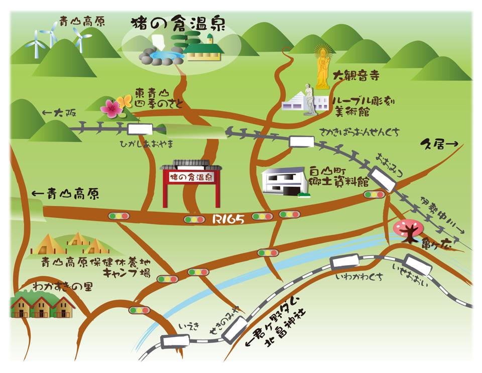 猪の倉温泉周辺観光地図